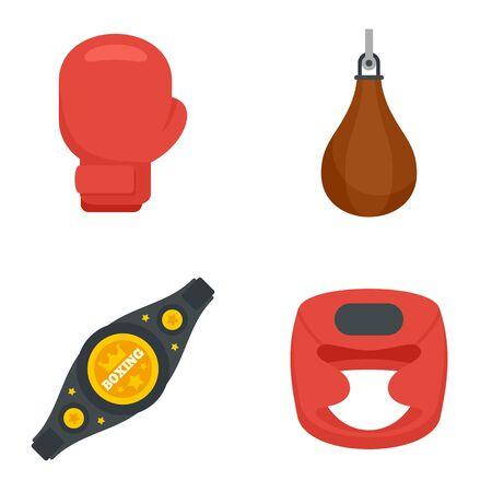 Boxing icons set, flat style