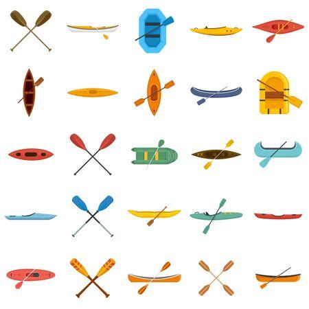 Canoeing icons set, flat style 일러스트