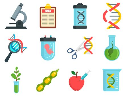 Genetic engineering icons set, flat style
