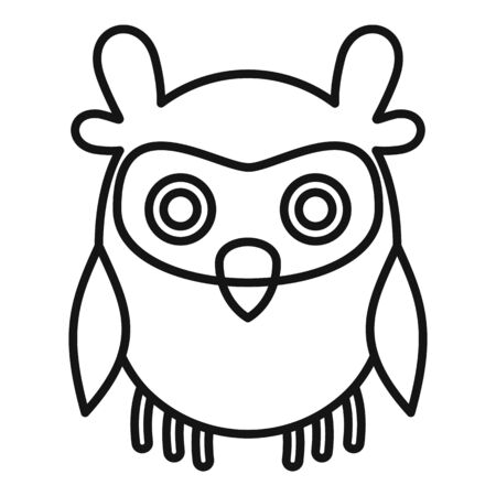 Sleeping owl icon, outline style  イラスト・ベクター素材