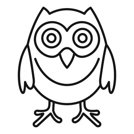 Smart owl icon, outline style