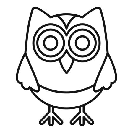 Wise owl icon, outline style