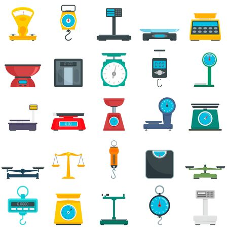 Weigh scales icons set, flat style Stock Illustratie