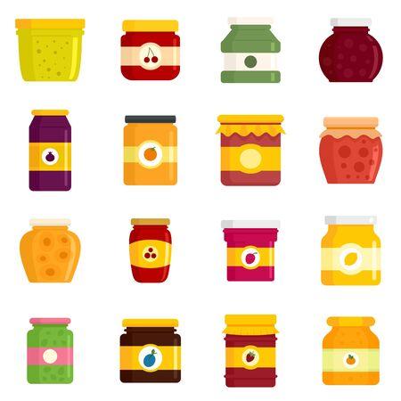 Jam jar icons set, flat style