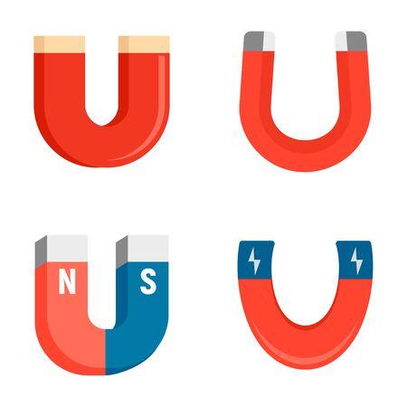 Magnet icons set, flat style Vektoros illusztráció