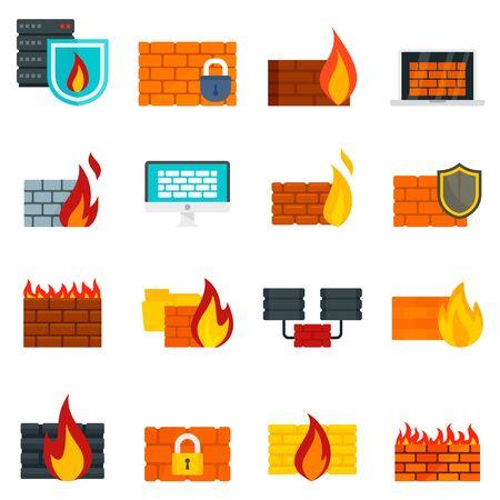Firewall icons set, flat style Archivio Fotografico - 129578893