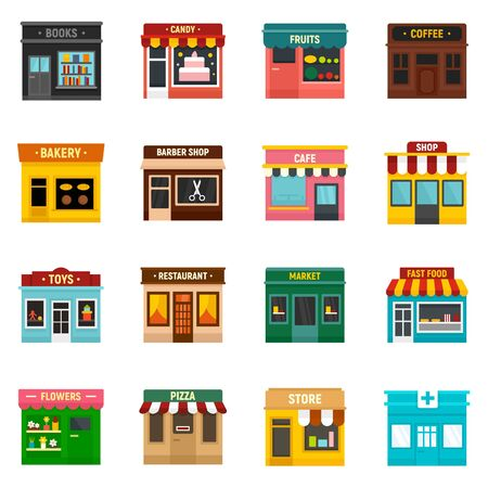 Local business icons set, flat style