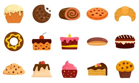 Confectionery icons set, flat style