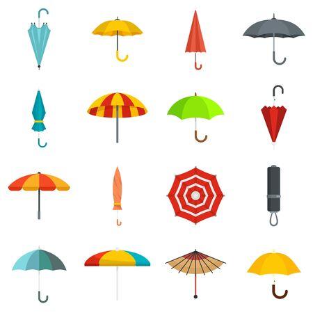 Umbrella icons set, flat style