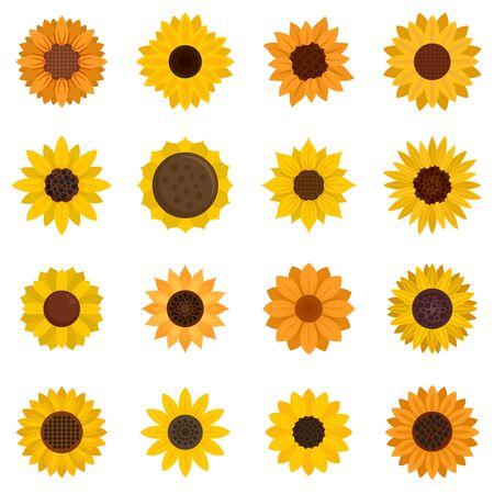 Sunflower icons set, flat style Illustration