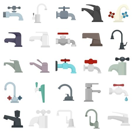 Faucet icons set, flat style Stock Illustratie