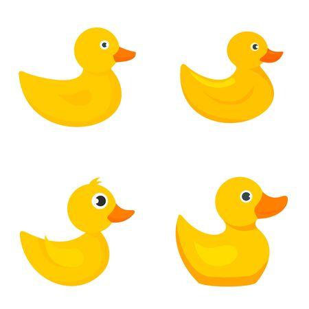 Yellow duck icons set, flat style Векторная Иллюстрация