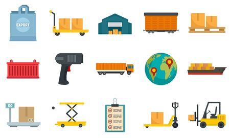 Goods export icons set, flat style