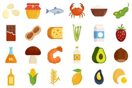 Food allergy icons set, flat style