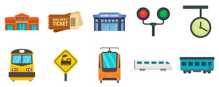 Railway station icons set, flat style Stock Vector - 129578975