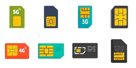 Sim phone card icons set, flat style