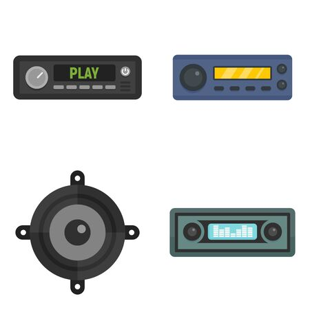 Car audio icons set, flat style