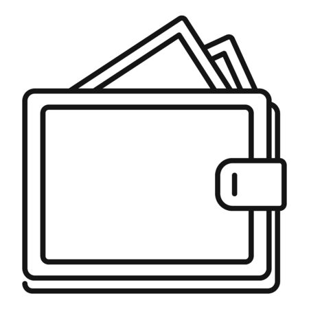 Money wallet icon, outline style Banque d'images - 129578980
