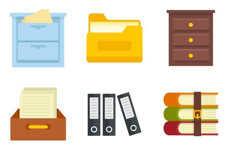 Archive icons set, flat style Stock Illustratie