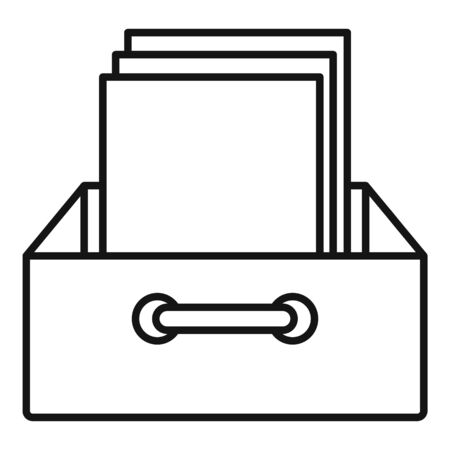 Archive papers icon, outline style Ilustrace