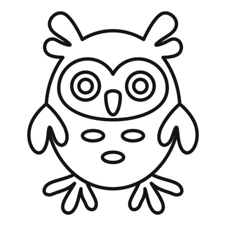 Adorable owl icon, outline style