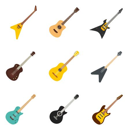Guitar icons set, flat style Stock Vector - 129586459