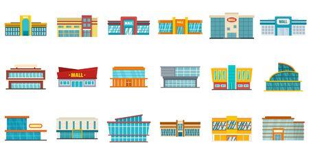 Mall icons set, flat style