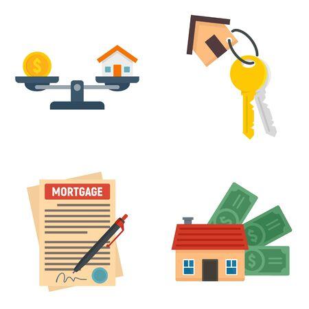 Mortgage icons set, flat style