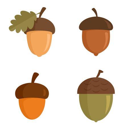 Conjunto de iconos de bellota, tipo plano