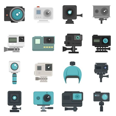 Action camera icons set, flat style  イラスト・ベクター素材