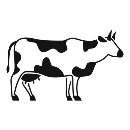 Farm cow icon, simple style