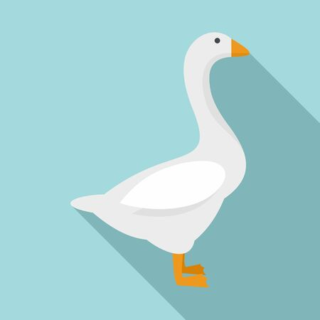 Domestic goose icon, flat style