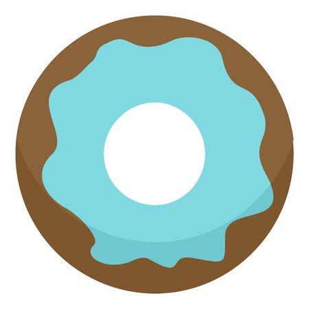 Blue donut icon, flat style Illusztráció