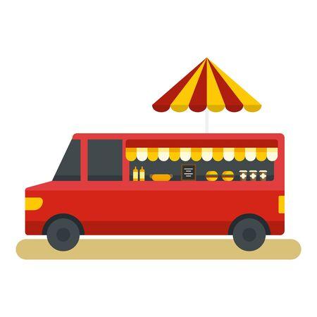Fast food truck icon, flat style Ilustração