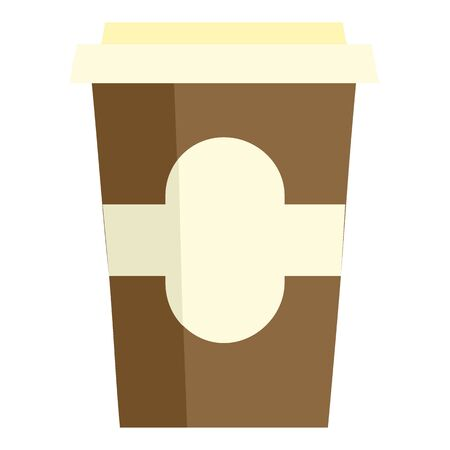 Tea paper cup icon, flat style
