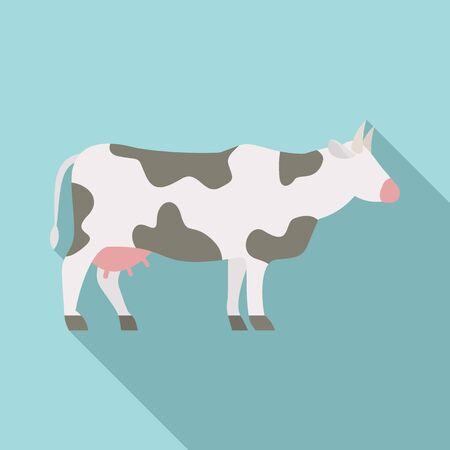 Milk cow icon, flat style