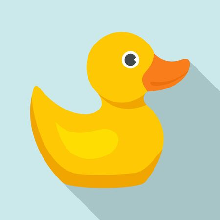 Yellow duck icon, flat style 스톡 콘텐츠 - 129587416