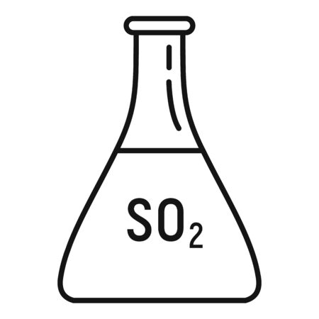 Sulfur dioxide flask icon, outline style Ilustrace