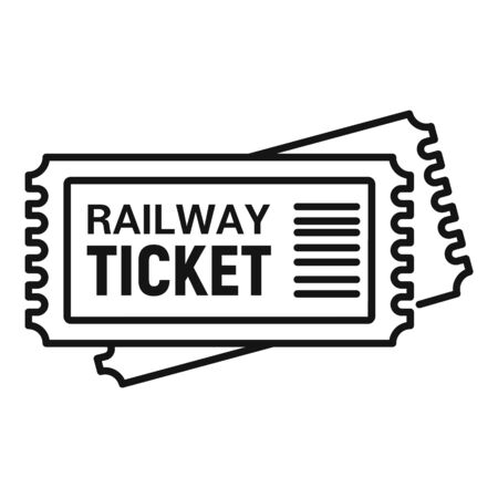 Railway ticket icon, outline style