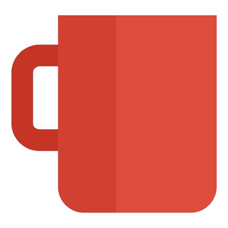 Red mug cup icon, flat style