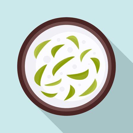 Thai food soup icon, flat style