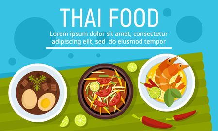 Exotic tasty thai food concept banner, flat style