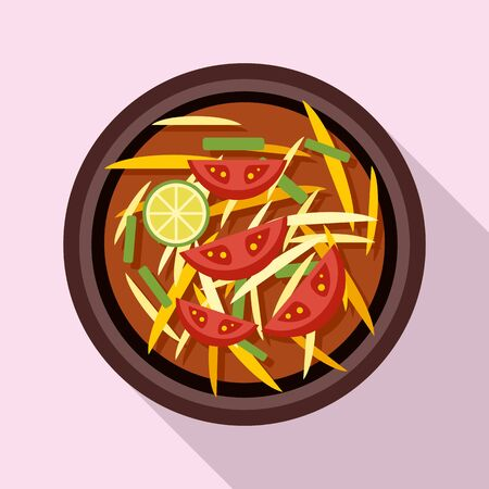 Thai food tomato soup icon, flat style 스톡 콘텐츠 - 129590331