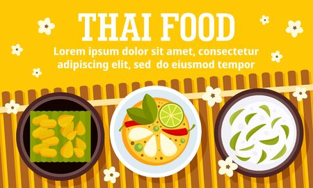 Thai food concept banner, flat style