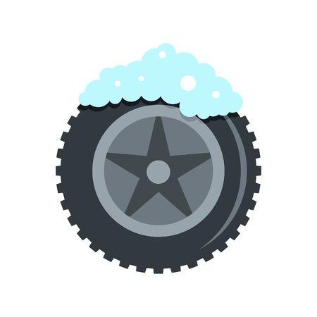 Wash car tire icon. Flat illustration of wash car tire vector icon for web design Ilustração