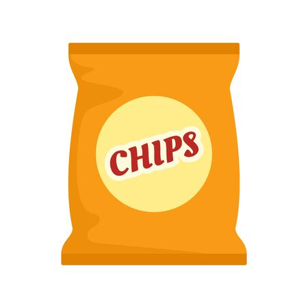 Yellow chips pack icon. Flat illustration of yellow chips pack vector icon for web design Imagens - 130007968