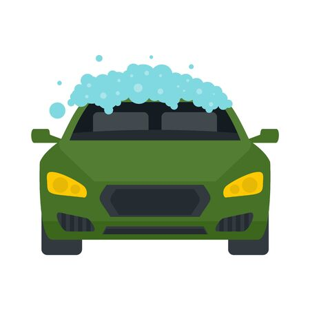 Foam wash car icon. Flat illustration of foam wash car vector icon for web design