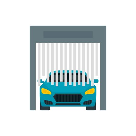 Car exit from wash garage icon. Flat illustration of car exit from wash garage vector icon for web design