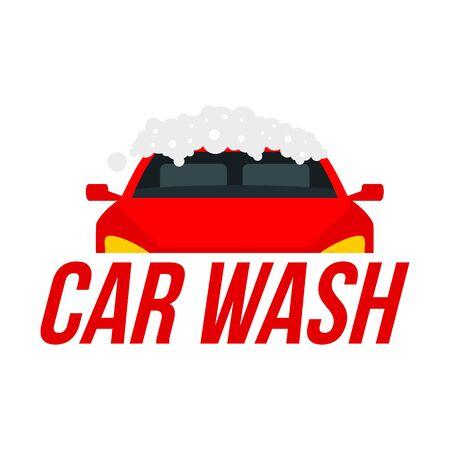 Foam car wash. Flat illustration of foam car wash vector  for web design