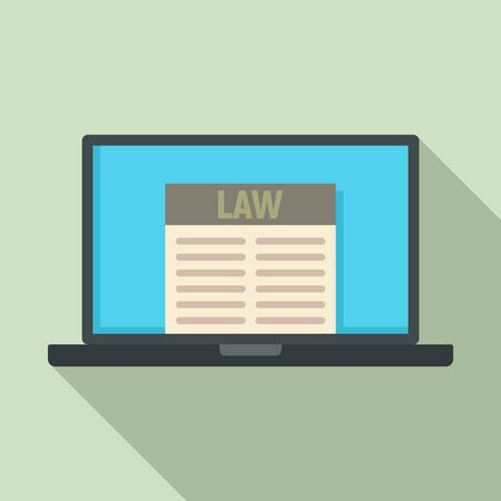 Law laptop icon. Flat illustration of law laptop vector icon for web design Ilustrace
